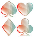 Playing card symbols a glossy set of shown in pastel colors Stock Image