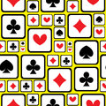 Playing card symbols seamless pattern Royalty Free Stock Photo