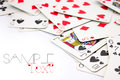 Playing cards border poker scattered on right side of frame with sample text Stock Photography