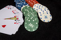 playing cards  and casino chips isolated Royalty Free Stock Photo