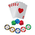 Playing cards and dice Stock Image