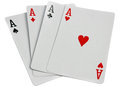 Playing cards four aces isolated on white Royalty Free Stock Photo
