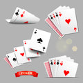 Playing cards. Four aces playing cards. Vector set Royalty Free Stock Photo