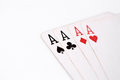 Playing cards. four aces on a white background. copyspace, luck abstract Royalty Free Stock Photo