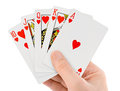 Playing cards hand isolated white background Stock Image