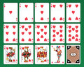 Playing cards of Hearts Stock Image