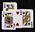 Playing cards with love man and woman Royalty Free Stock Images