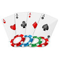 Playing cards and poker chips on a white background Stock Images