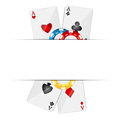 Playing cards and poker chips on a white background Royalty Free Stock Photo