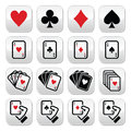 Playing cards poker gambling buttons set vector of hearts diamonds spades and clubs isolated on white Stock Image