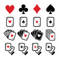Playing cards poker gambling icons set vector of hearts diamonds spades and clubs isolated on white Royalty Free Stock Photos