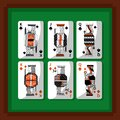 Playing cards poker kings and queen spade and diamond green background Royalty Free Stock Photo
