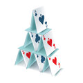 Playing cards pyramid isolated Royalty Free Stock Photo