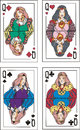 Playing cards queens set of color vector illustrations Stock Photos
