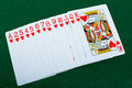 Playing cards red deck green background see my other works portfolio Stock Image
