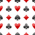 Playing cards suits seamless pattern a with red and black on white background eps file available Stock Photos