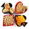 Playing cards symbols with salted snacks Royalty Free Stock Photos