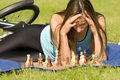 Playing chess outdoor Royalty Free Stock Photo
