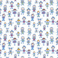 Playing children seamless pattern background vector with hand drawn elements Royalty Free Stock Images
