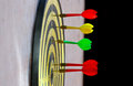 Playing darts close up of arrows Stock Images
