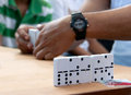Playing domino close up view of dominoes game Royalty Free Stock Photo