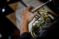 Playing on french horn Royalty Free Stock Photo