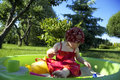 Playing in the garden Royalty Free Stock Photo
