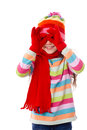 Playing girl in winter clothes Royalty Free Stock Photo