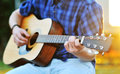 Playing guitar C chord Royalty Free Stock Photo