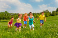 Playing kids in green field during summer Royalty Free Stock Photo