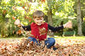 Playing in Leaves Royalty Free Stock Photo