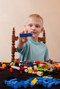 Playing with lego a young child Royalty Free Stock Photo