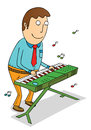 Playing organ illustration of a man Stock Images