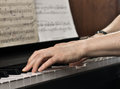 Playing the piano women s hands close up Royalty Free Stock Photo