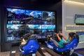 Playing Playstation 4 in Sony Center, Dubai Mall, Dubai Royalty Free Stock Photo