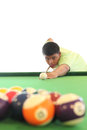 Playing pool young man isolated Stock Images