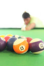 Playing pool young man isolated Royalty Free Stock Photography