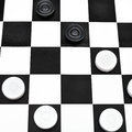 Playing position on draughts board black and white checked Stock Photos