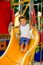 Playing On Slide Royalty Free Stock Photos