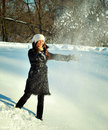 Playing with snow Stock Photography