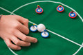 Playing soccer table toy young boy hand play with Stock Photography