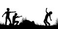 Playing soldiers editable vector silhouette of young boys as firing guns with figures as separate objects Stock Photography