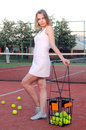 Playing tennis woman on the court Royalty Free Stock Photos