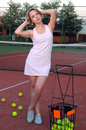 Playing tennis woman on the court Stock Photo