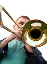 Playing a trombone Stock Image
