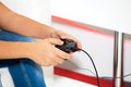 Playing in video computer games with joystick Royalty Free Stock Photo