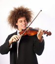 Playing violin young man afro style Royalty Free Stock Image