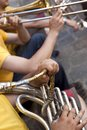 Playing wind instruments Royalty Free Stock Photo