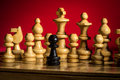 Playing wooden chess pieces Royalty Free Stock Photo