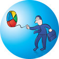 Playing yoyo vector illustration of businessman pie chart Stock Images